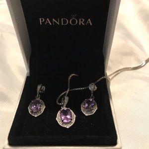 Pandora Amazing Amethyst Pendant and earrings set!